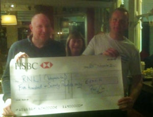 NOT THE GREATEST PICTURE IN THE WORLD BUT BRIAN IS THERE HANDING THE BIG CHEQUE OVER TO THE RNLI CREW